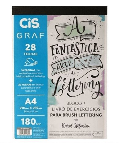 KIT 2- bloco Lettering + 10 FinePen neon + 6 Finepen pastel + Dual brush cis
