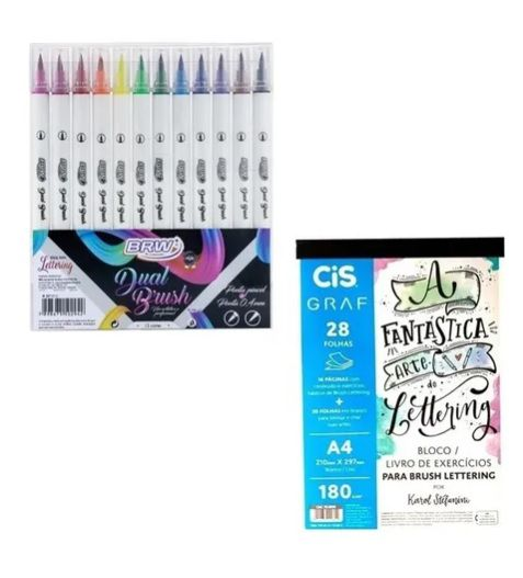 KIT 3 - bloco de Lettering + 12 Brush brw aquarelável