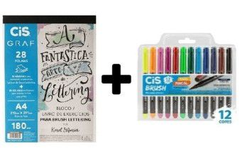 KIT 1 - bloco de Lettering + 12 Brush CIS aquarelável