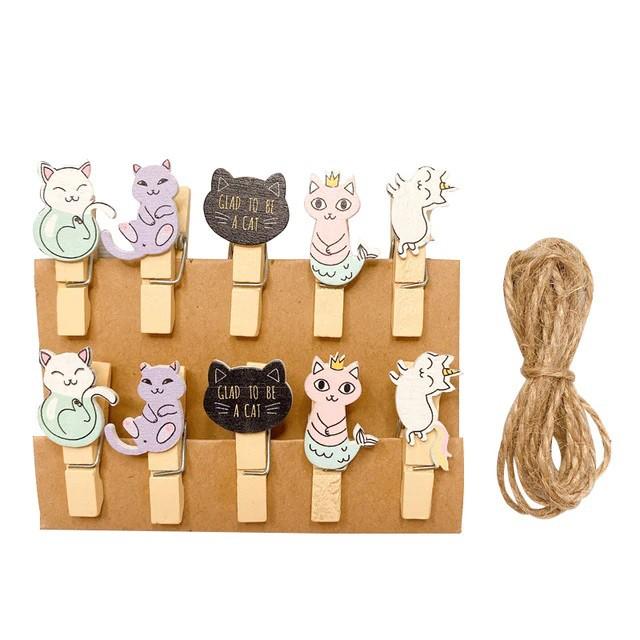 Kit c/10 mini prendedores + cordão sisal - Gatinhos