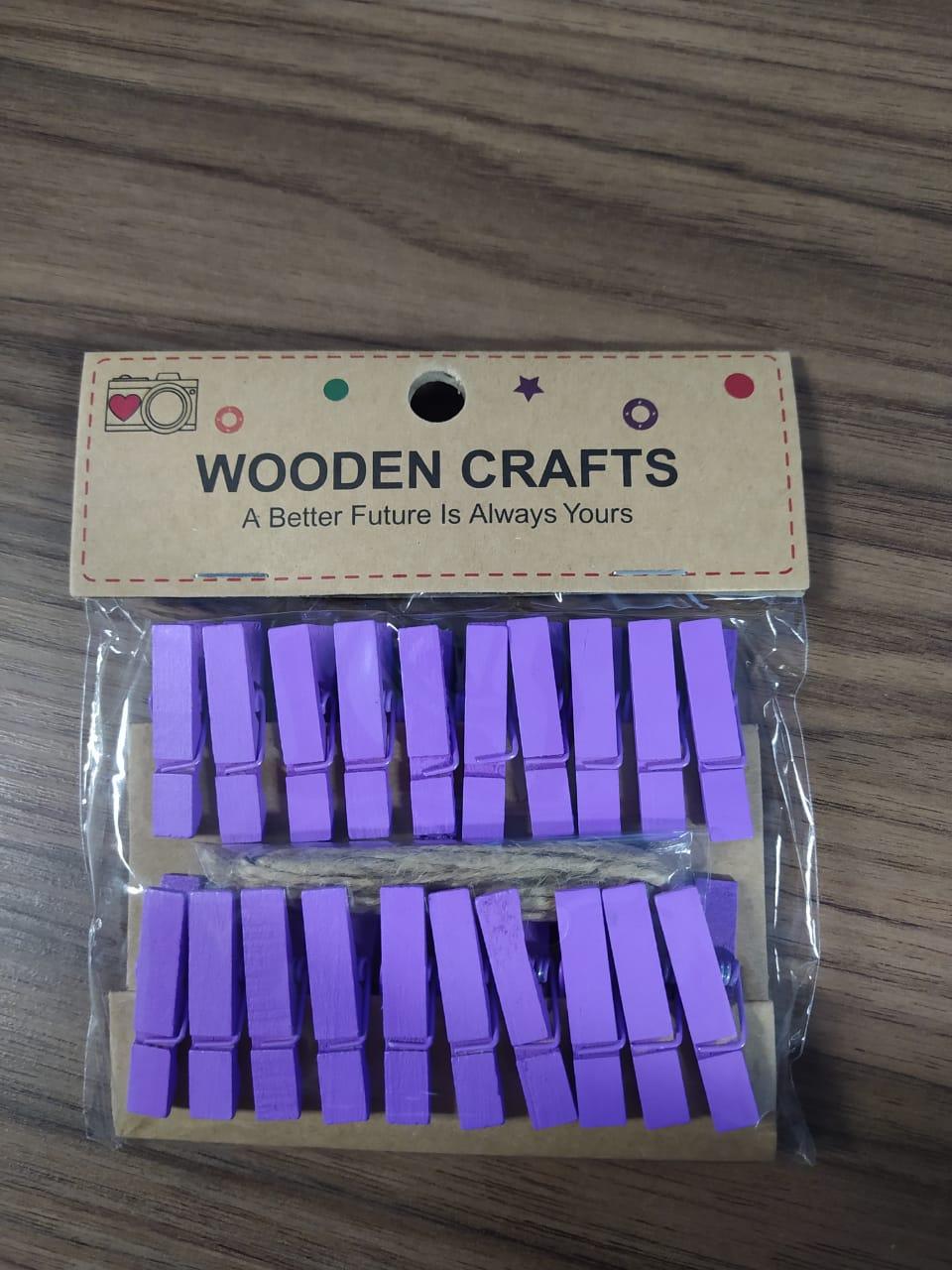 Kit c/20 mini prendedores + cordão sisal - Lilás