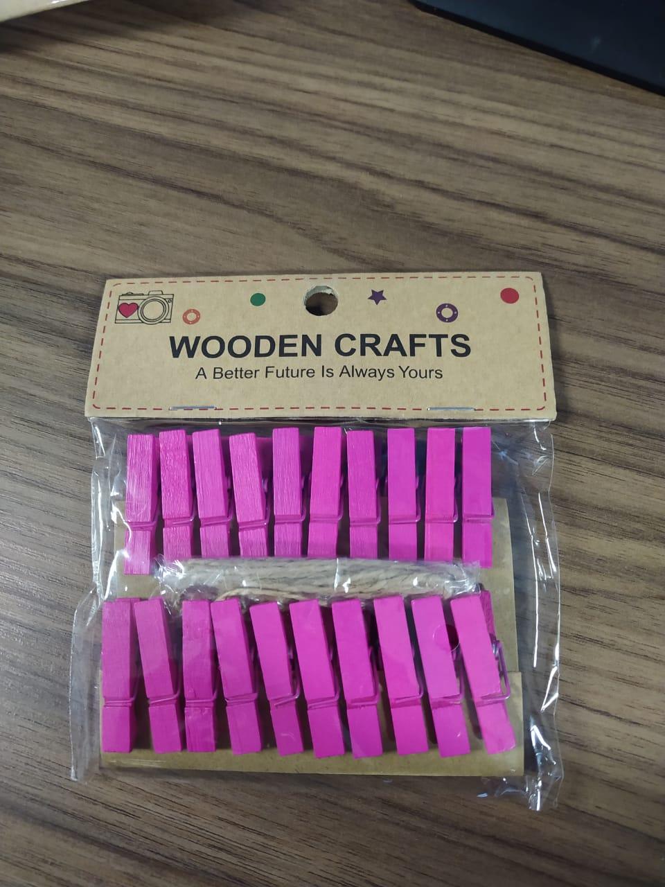 Kit c/20 mini prendedores + cordão sisal - Pink