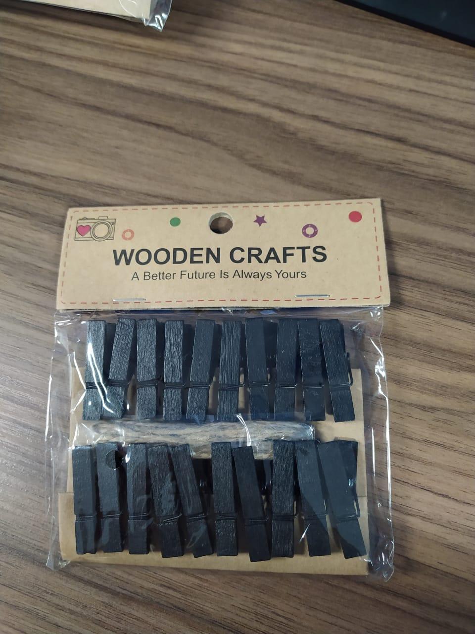 Kit c/20 mini prendedores + cordão sisal - Preto