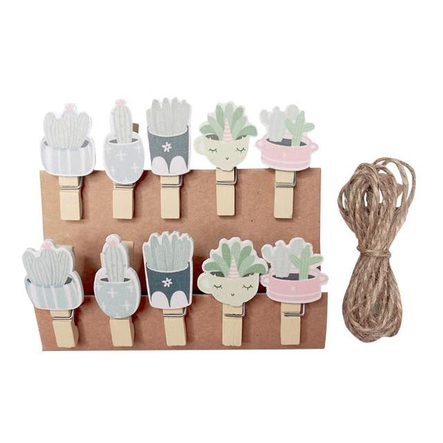 Kit c/10 mini prendedores + cordão sisal - Xícaras com cactos