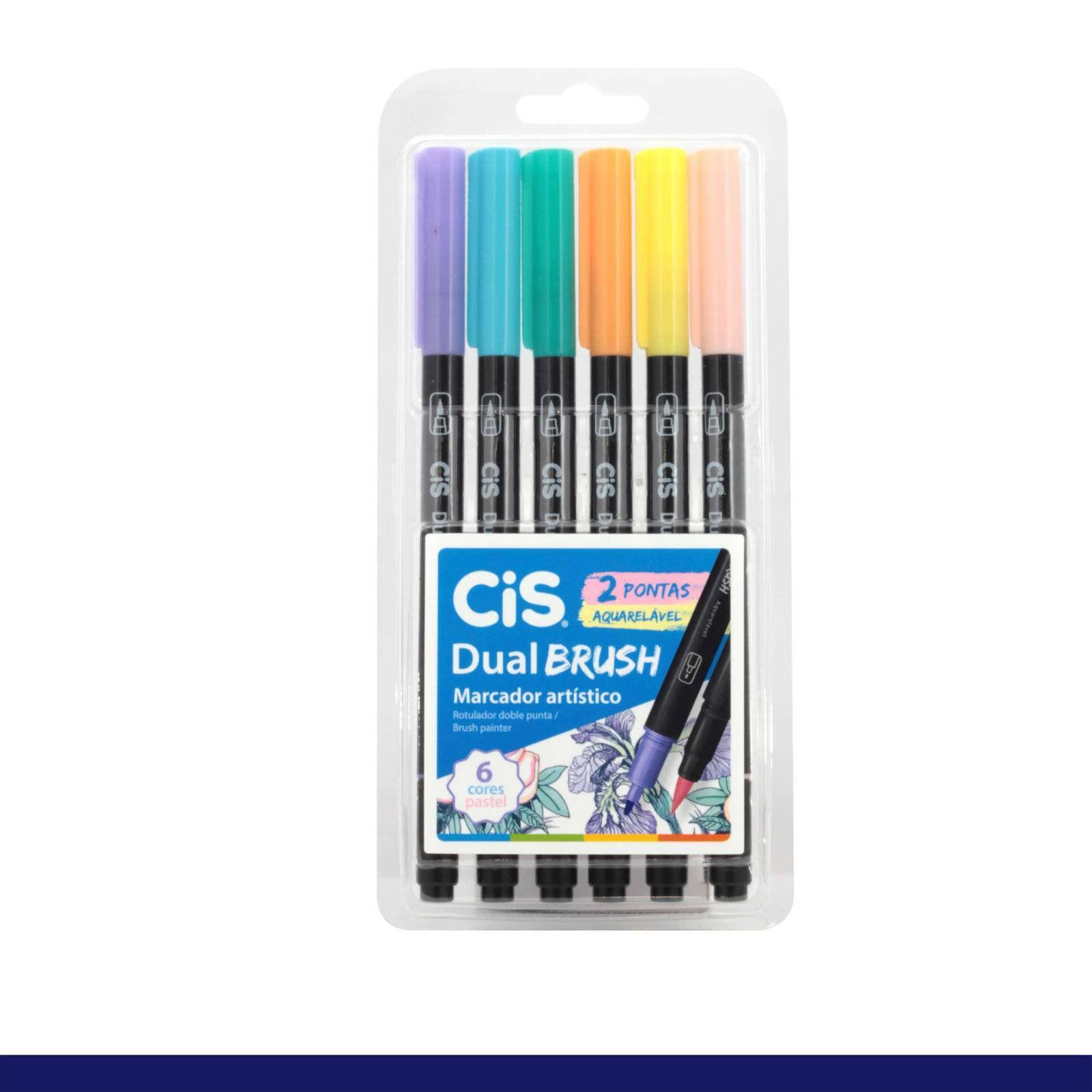 Kit Canetas Ponta Dupla Brush Pastel c/ 6 Cores - CIS