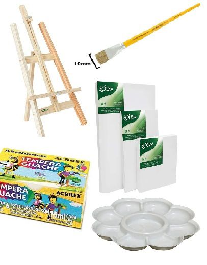 KIT pintura 1 cavalete + 3 telas + 1 pincel + 6 tintas + 1 godet