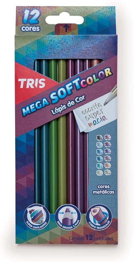 Lapis De Cor 12 Cores Tons Metálicos Tris