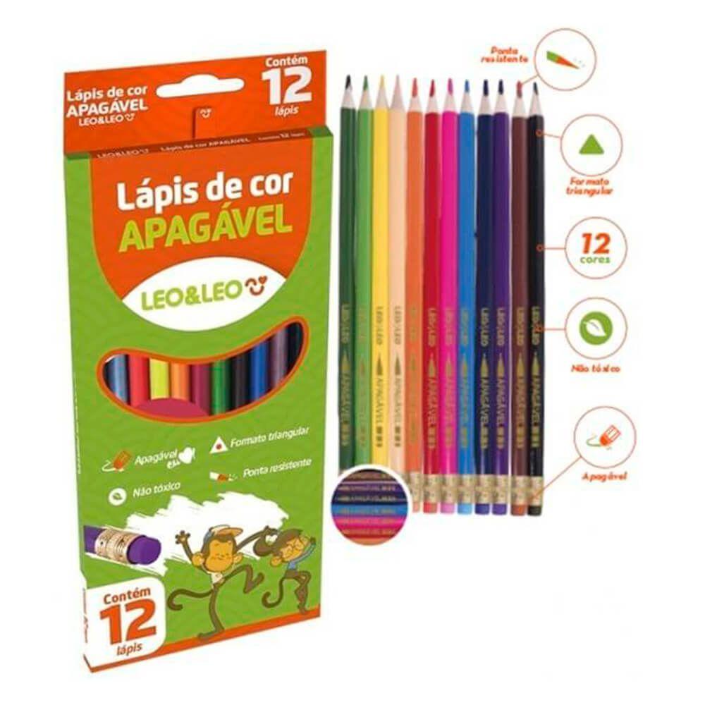 Lápis de Cor Apagável 12 Cores - Leo&Leo