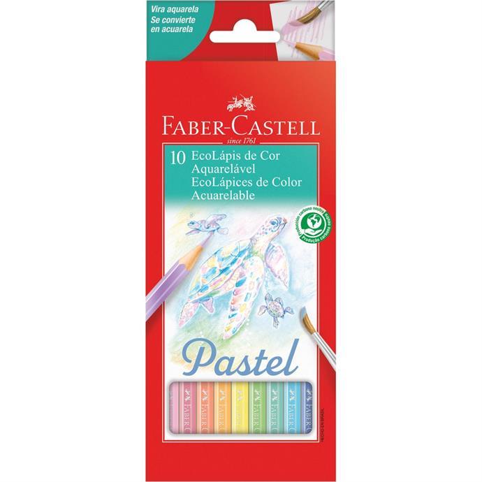 Lápis de Cor Aquarelável EcoLápis 10 Cores Pastel - Faber-Castell