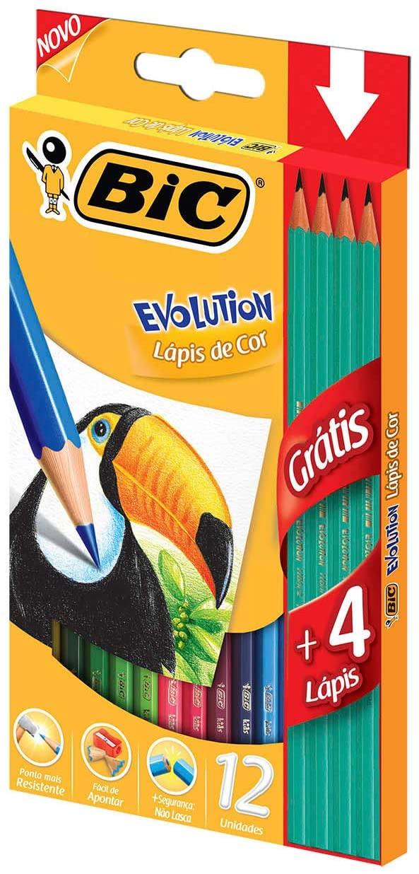 Lápis de Cor BIC Evolution, 12 cores + 4 Lápis de Escrever Grátis
