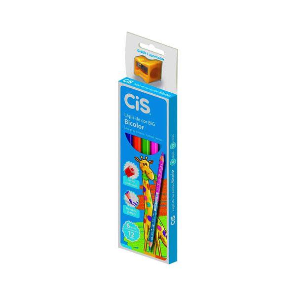 Lápis de Cor BICOLOR Jumbo com 6 Lápis ( 12 cores ) - CIS