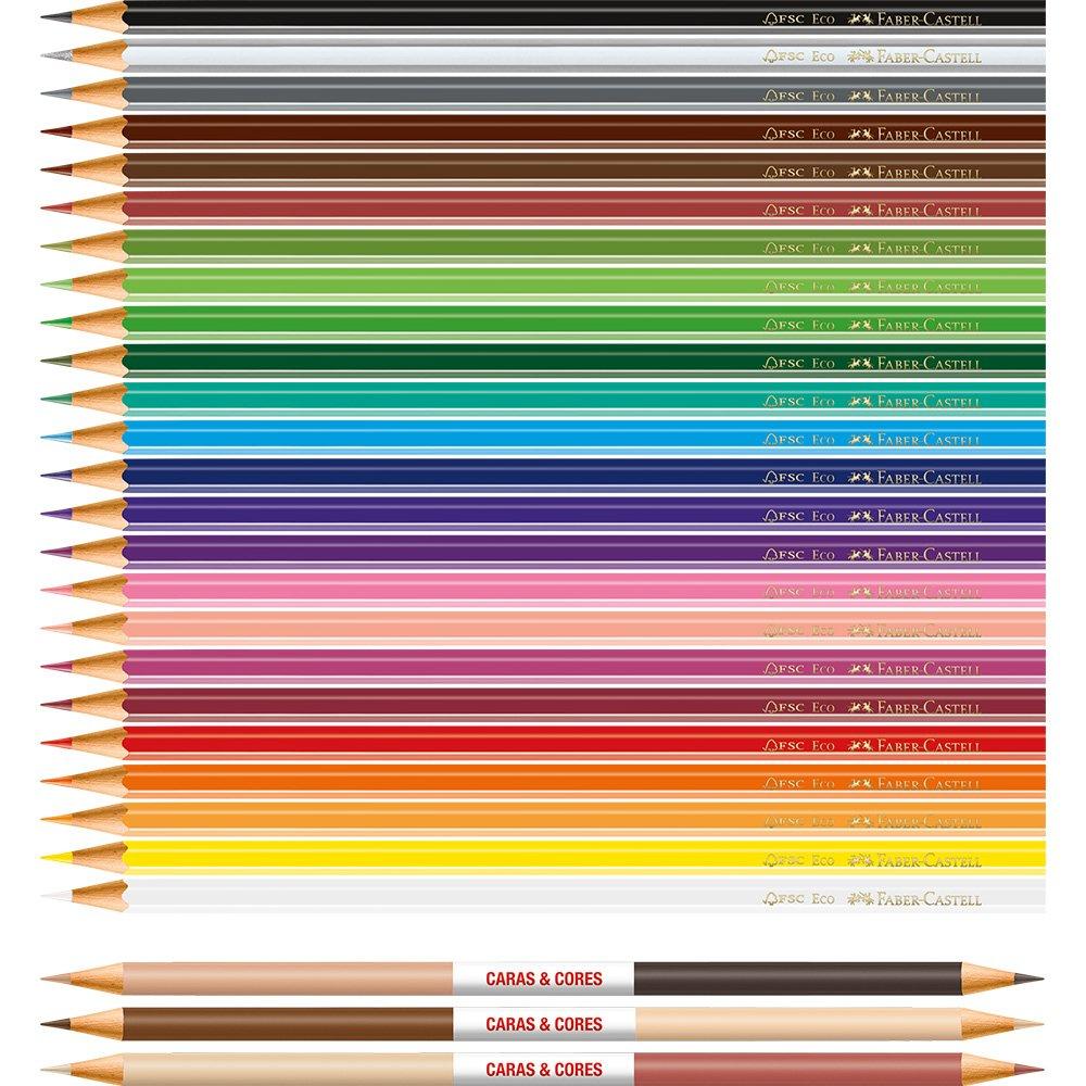 Lápis de cor caras e cores 24+3 - Faber-Castell