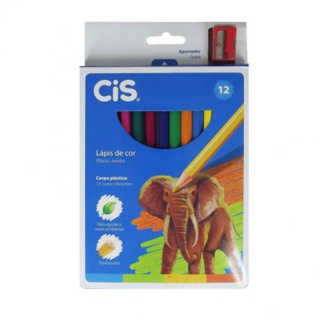 Lápis de Cor Jumbo com 12 Cores - CIS