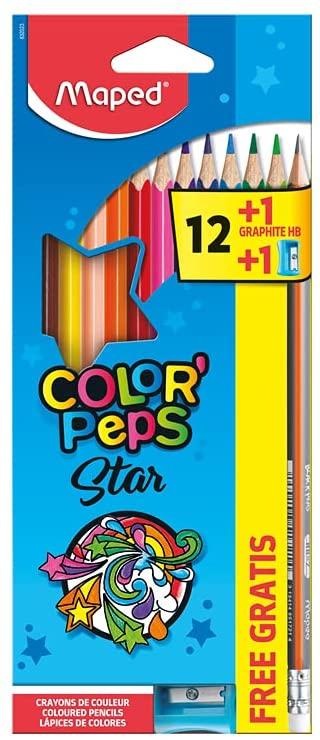 Lápis de Cor, Maped, Color Peps, 12 Cores + Lápis Grafite + Apontador, Multicor