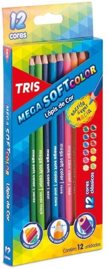 Lápis De Cor Mega Soft Color - 12 Cores - Tris
