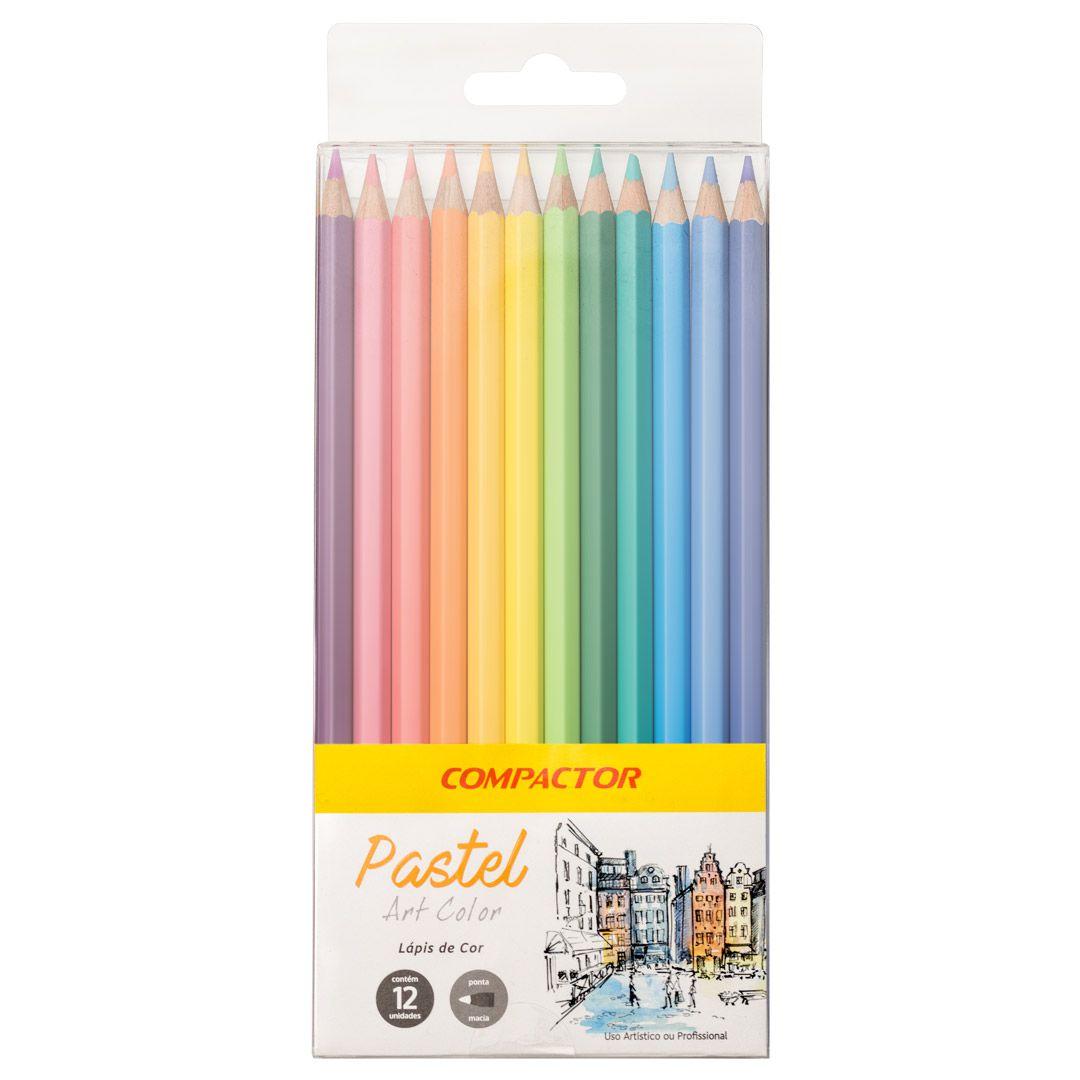 Lápis de Cor Pastel 12 Cores - Compactor