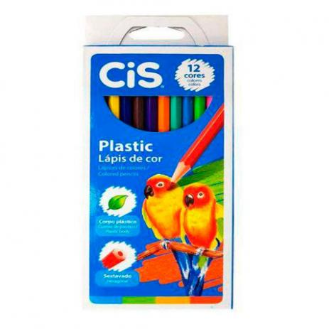 Lápis de Cor Plastic com 12 Cores - CIS
