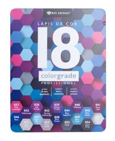 Lápis de cor profissional 18 cores Colorgrade estojo metalizado