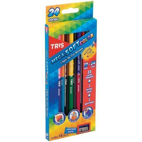 Lápis de cor tris bicolor 12/24 cores mega soft color + apontador