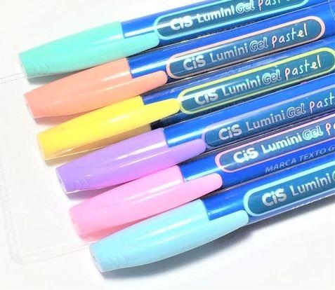 Marca texto cis lumini gel pastel c/6