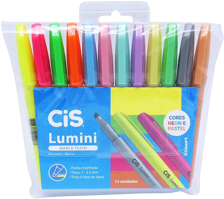 Marca Texto Lumini com 12 unidades (Cores Pastel e Neon)