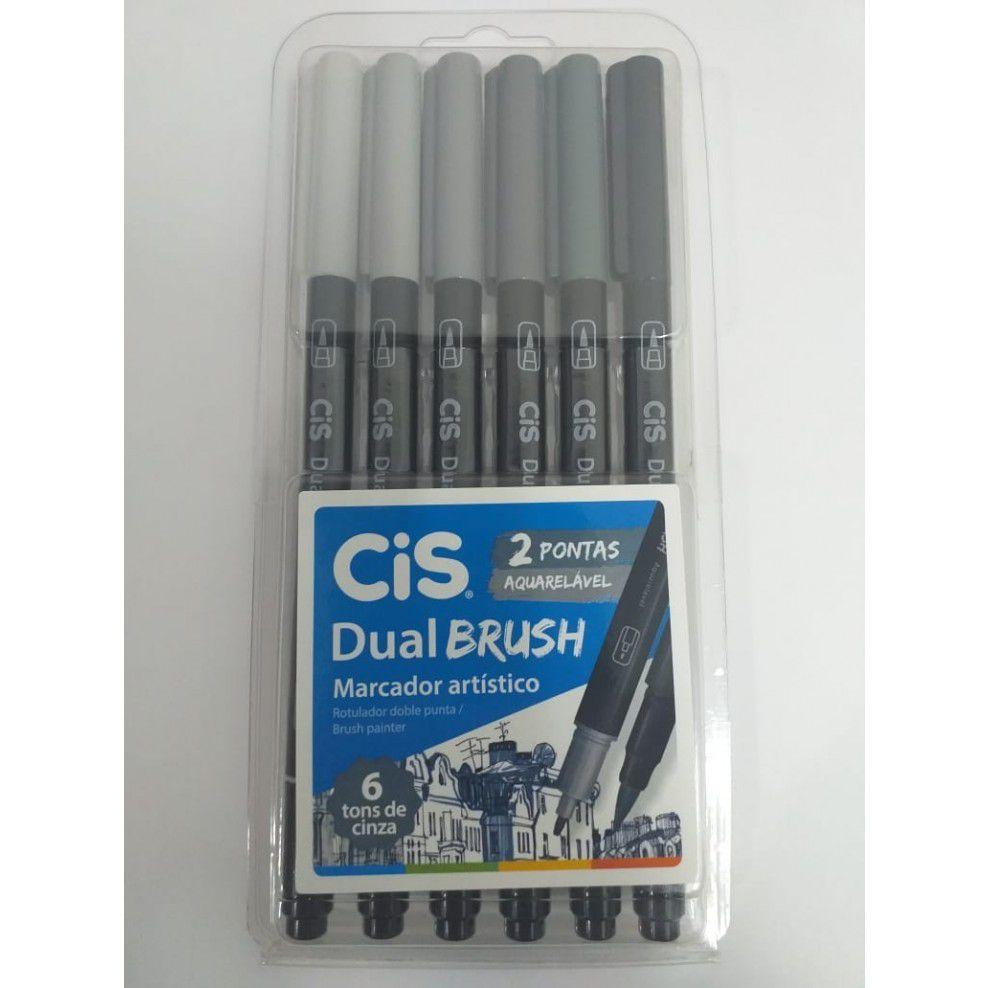 Marcador Artístico Dual Brush 6 Tons de Cinza - Cis
