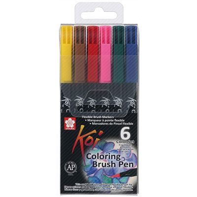 Marcador Coloring Brush 6 Unidades - Koi
