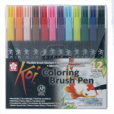 Marcador Coloring Brush 12 Unidades - Koi