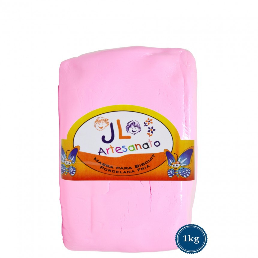Massa Para Biscuit 1Kg Rosa Candy JL Artesanato