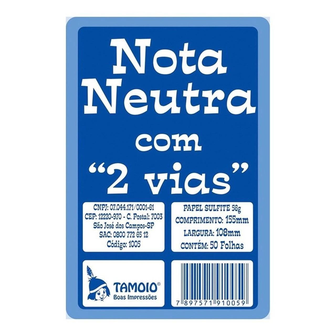 Nota Neutra com 2 Vias Com 50 folhas - Tamoio