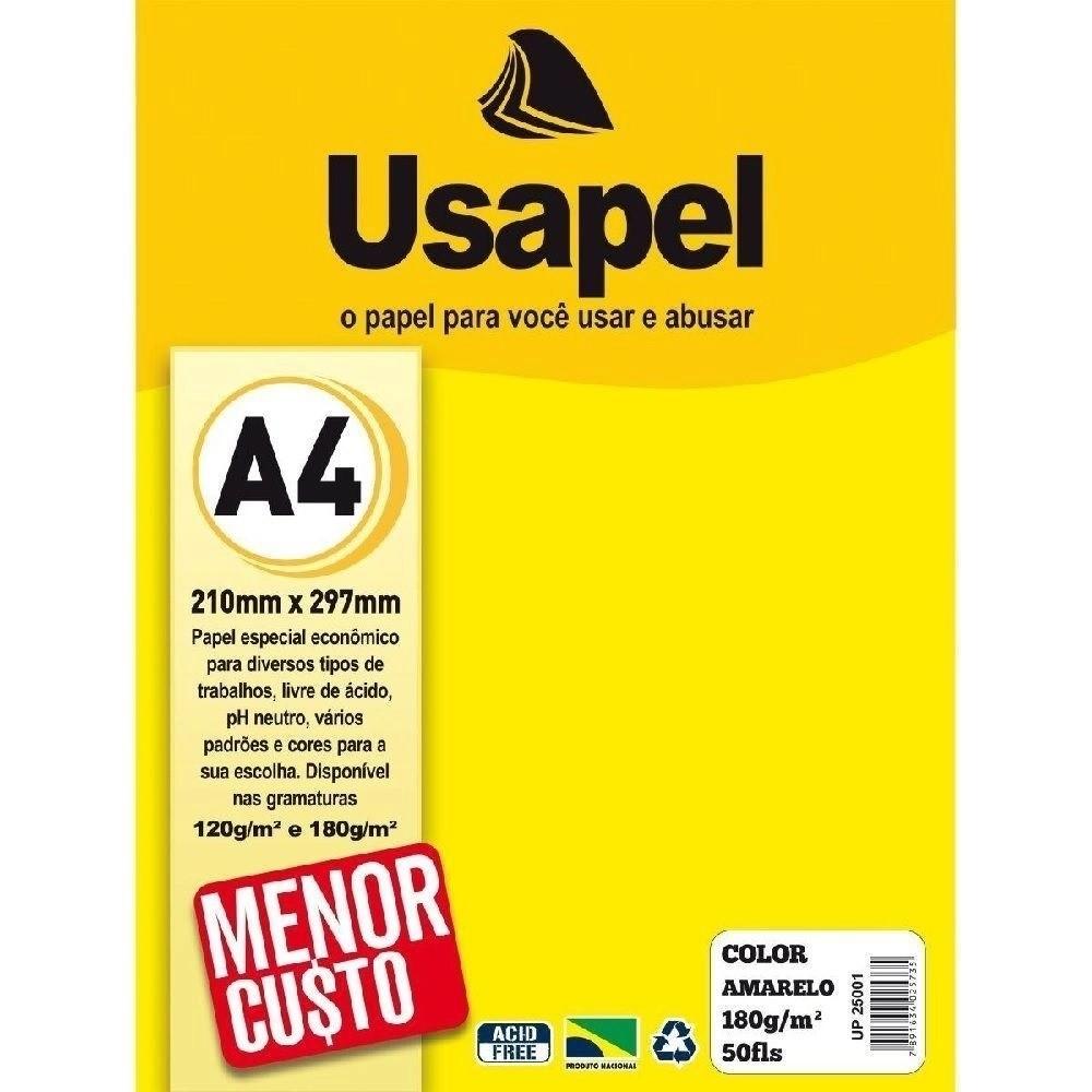 Papel cartão 180gr 50fls a4 Usapel -  7 Cores