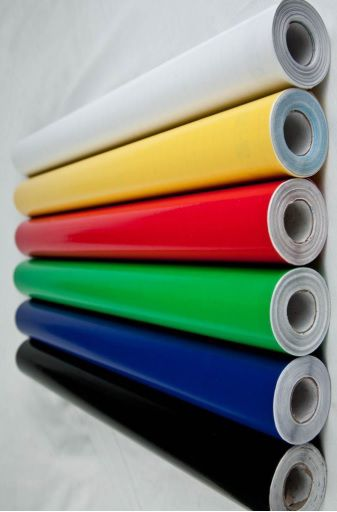 Papel contato colorido brilhoso rolo c/10m - 5 cores diferentes