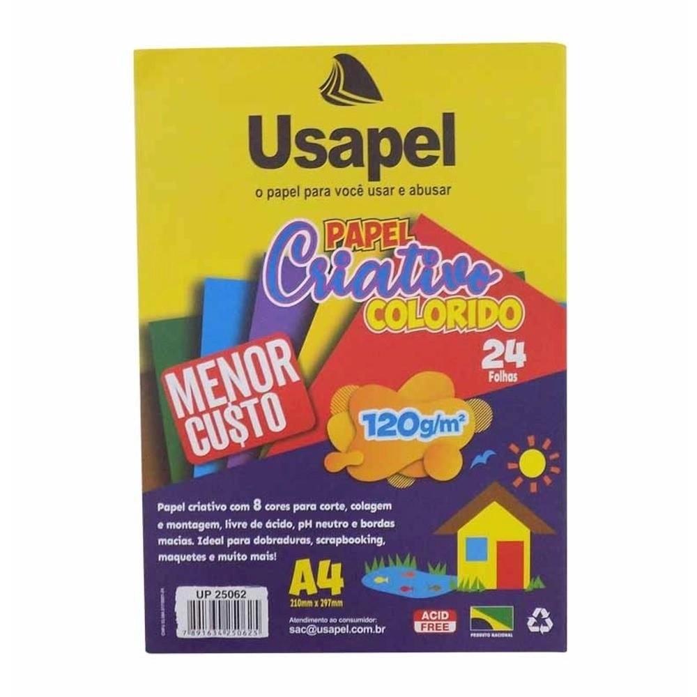 Papel Criativo Colorido A4 5 cores  24fls - Usapel