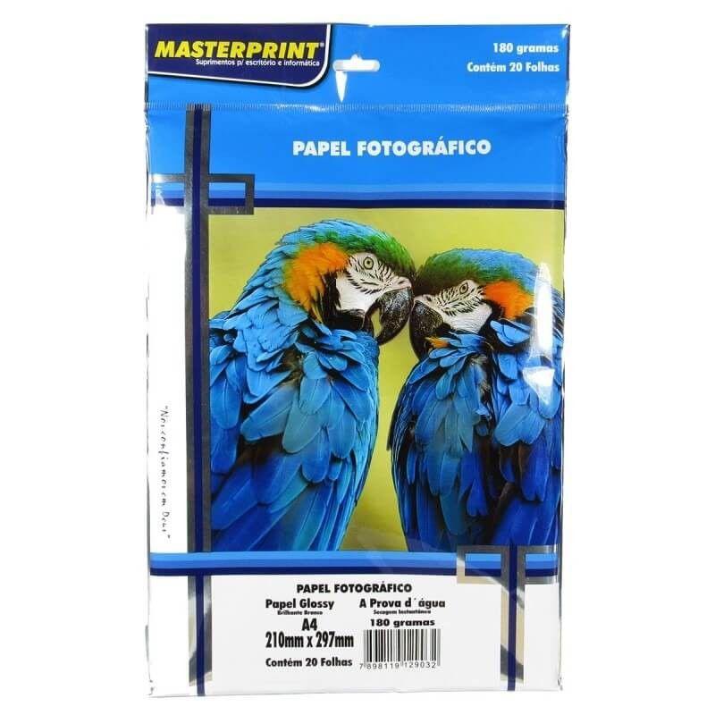 Papel Fotográfico Glossy A4 180g 20 Folhas - Masterprint