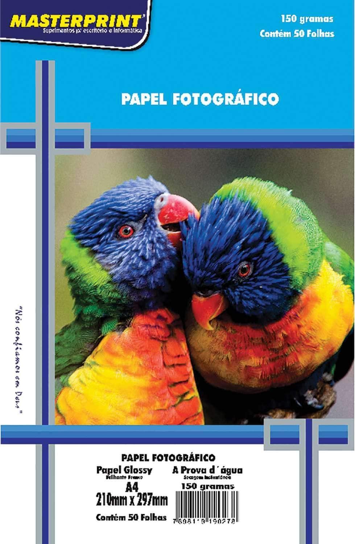 Papel Fotográfico Masterprint, A4, Glossy, 150 g, Multicor, Pacote de 50