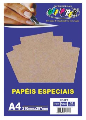 Papel Kraft natural 180gr 50fls a4 - OffPaper