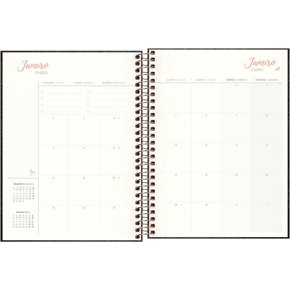 Planner Espiral Preto Cambridge Shine 2021
