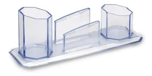 Porta canetas 3 em 1 cristal - Waleu
