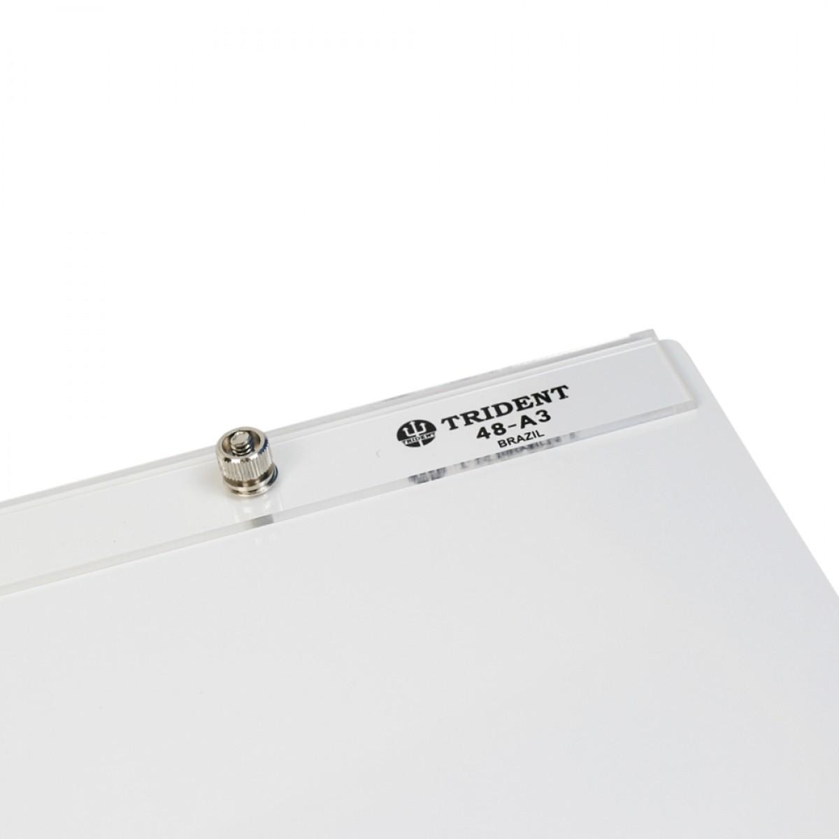 Prancheta Portátil  Retangular de Fórmica Branca A3 48-A3F - Trident
