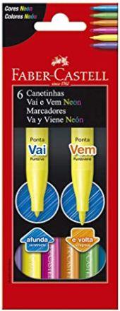 PROMOÇÃO - Canetinha Vai e Vem Neon 6 Cores - Faber Castell