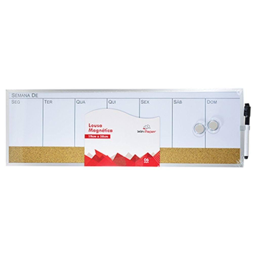 Quadro Magnético De Planejamento Semana 19x58 Cm C/ 2 Imãs E Caneta - Win Paper