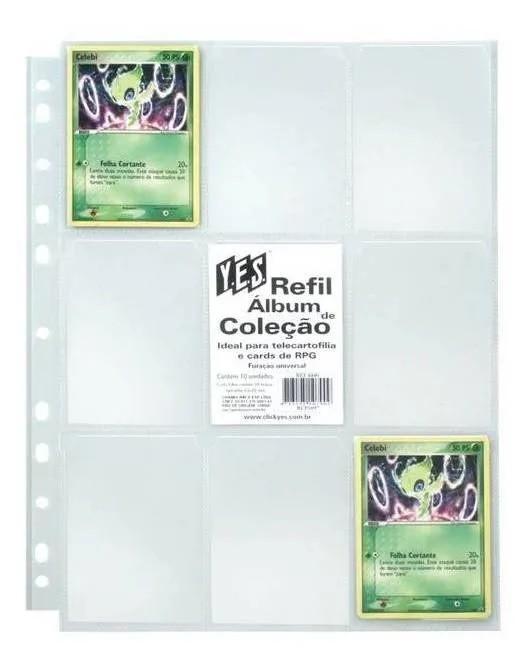 Refil Plástico 10 Folhas Para Cartões E Cards Pokemon - Yes