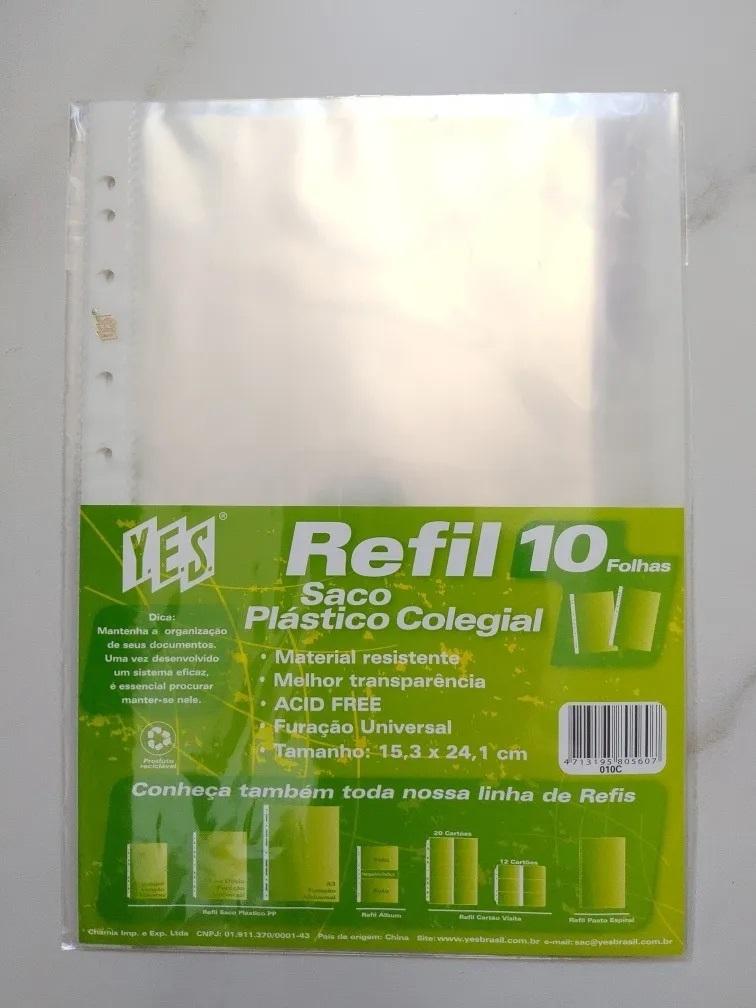 Refil saco plástico colegial 10 folhas - Yes
