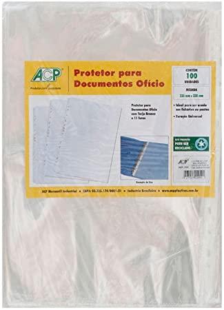 Saco Plástico com 11 furos com Tarja Branca Ofício Pacote com 100 unidades
