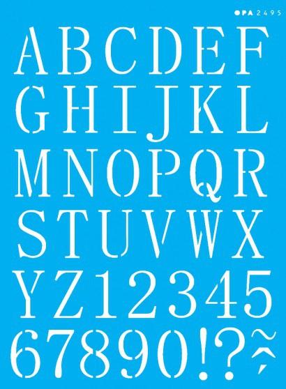 Stencil alfabeto reto maiúsculo 15x20