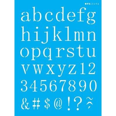 Stencil alfabeto reto minusculo 15x20