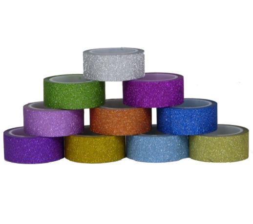 Washi tape Gliter c/10 rolos de 5m cada