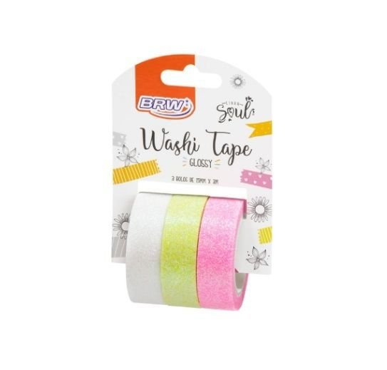 Washi Tape Glossy Com Glitter Verde Claro 3 Rolos - BRW