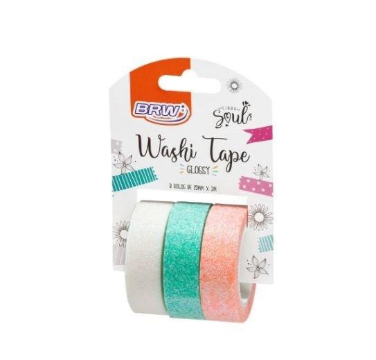 Washi Tape Glossy Com Glitter Verde Escuro 3 Rolos - BRW