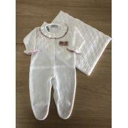 Saída de Maternidade Tricot Macacão Folhas Branco